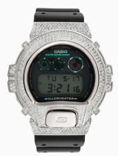 Custom CASIO GSHOCK DW6900 ICED OUT 14K White Gold Plated Lab Diamonds 5CT BLING