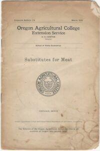 1918 Substitutes for Meat Pamphlet Oregon Agricultural College World War 1 Food
