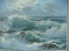 """E. John Robinson Signed Numbered Framed Matted Print """"Frolic"""" 1976 Seascape"""