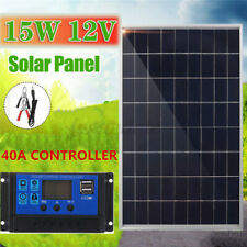 15W 12V Portable Solar Panel With Battery Clip +40A Controller Camping Traveling
