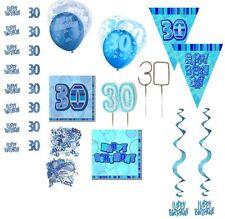 30. Geburtstag Deko in blau prismatic effektvolle Girlanden, Konfetti, Wimpel