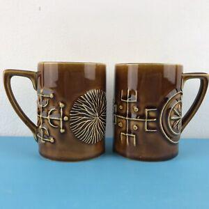 2 Vintage Totem Coffee Cups Amber/ Brown  Susan Williams Ellis Hght 8.2cm / 3.25