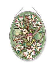 """FRIENDSHIP HUMMINGBIRDS AMIA STAINED GLASS SUNCATCHER 6.5"""" X 9"""" OVAL 42652"""