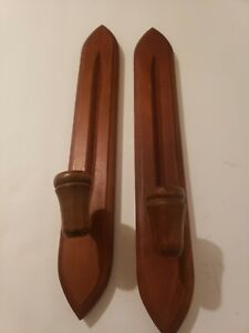 """Pair Of Thin Wood Taper Candle Holder Wooden Wall Sconces Wall Mount 14 1/2"""""""