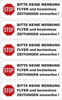 5x Bitte keine Werbung einwerfen Aufkleber Wetterfest Sticker Briefkasten 10x3cm