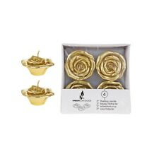 "Mega Candles - Unscented 2"" Floating Flower Candles - Gold, Set of 4"