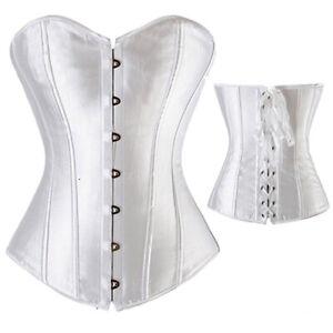 Women Lace Up Boned Bustier Corset Overbust Burlesque Top Lingerie Waist Cincher