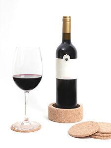 Round Certified Cork Coasters Glass Mats 6pc Set & Bottle Holder