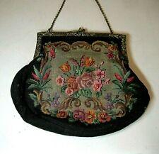 Altes Täschchen kleine Handtasche Petit Point Stickerei Blumen Abendtäschchen