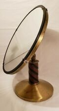 Antique Brass and Wood Table Top  Vanity Makeup Mirror Barber