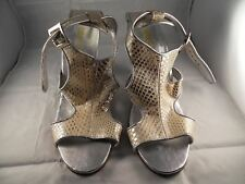 KITSCH silver snake skin pattern leather heels size 39 MADE IN AUSTRALIA EUC