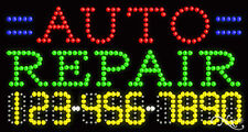 "NEW ""AUTO REPAIR"" 32x17x1 w/YOUR PHONE NUMBER SOLID/FLASHING LED SIGN 25042"