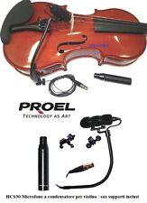 PROEL HCS30 Microfono a condensatore per violino sax sassofono supporti inclusi