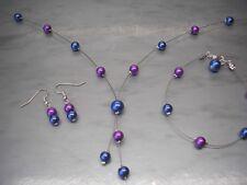 Handmade Jewelry Necklace Bracelet Earring Set Bridal Bridesmaid Wedding 33W