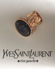 YSL Arty Ring - Authentic Rose Gold Plated & Navy Blue sz 6 - AS NEW