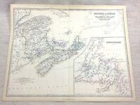 1861 Antik Map Of Kanada Neu Brunswick Neufundländer Hand- Farbig Johnston