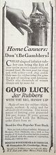 VINTAGE AD 1929 (XX50)~GOOD LUCK MASON JAR RUBBERS. BOSTON HOSE & RUBBER CO