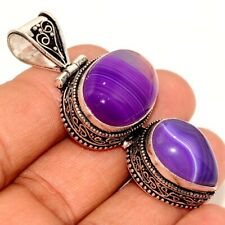 """Botswana Agate 925 Sterling Silver Plated Vintage Style Pendant 2.2"""" GW"""