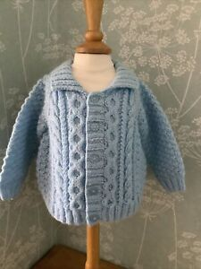 New: Blue Hand Knitted Collared Aran style Jacket / Cardigan Baby Boy 3-6 mths