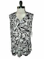 NEW LIZ CLAIBORNE Size XL Shirt Top Black White Stretch Knit Sleeveless
