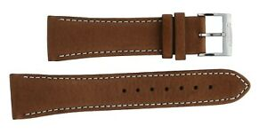 Original 22mm Citizen Brown With White Stitching Leather Watch Strap 59-S51450