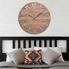 Wall Clock 23.5 in. Round Rustic Wood Frame Quartz Movement Southwestern Style