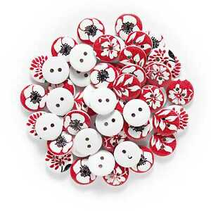 50pcs Leaves Printing Wooden Buttons Sewing Scrapbooking Craft Making Decor 15mm