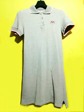 Tiger patch Grey Polo Shirt Dress with pink trim
