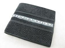 Genuine Black Row Stingray Skin Leather Mens Bi-Fold Wallet + FREE SHIPPING