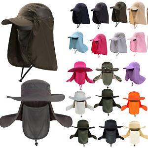 Herr Dame Fischerhut Bucket Hat Sonnenhut Angelhut Mütze mit Nackenschutz Cap