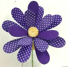 "Daisy Polka Dot Felt Flower Stem~Purple, White Dots~13""T~Felt/Artificial"