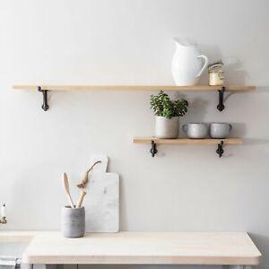 Large Wooden Solid Raw Oak Shelf with Black Cast Iron Brackets 120cm wide