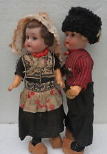 "Beautiful Pair Antique Small Bisque German Boy Girl 8,2"" Doll"