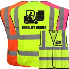 FORKLIFT DRIVER YELLOW ORANGE PINK HI VIZ VIS WAISTCOAT VEST SAFETY WORKWEAR