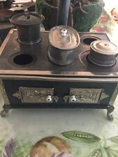 Vintage German Doll Children's Ornate Tin Double Steam Oven Stove w/ Accessories