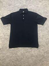 Footjoy Polo Shirt Adult Medium Black Blue Lightweight Golf Casual Rugby Mens