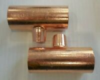 "LOT of 2 1"" x 1"" x 1/2"" Copper Tee Nibco 1-1/8"" OD x 5/8"" OD CTGGD"