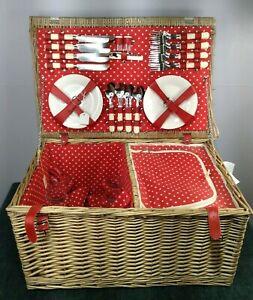 Beautiful Large Wooden Wicker Full Basket & Picnic Ware Set