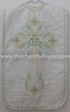 Metallic Silver Roman Chasuble Fiddleback Vestment & 5pc mass set AM embroidery