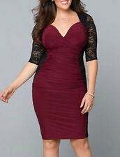 Ladies Plus Size 2XL/XXL Black Lace Burgandy Rauched Stretch Club Party Dress!