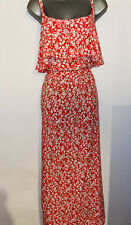 FAB Rojo Verano Floral Floaty Vestido Maxi 18