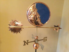 Good Directions Polished Copper Stained Glass Moon Weathervane- 678P w/Rm