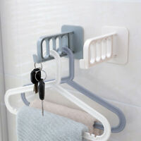 HB- Folding Wall Door Mounted Adhesive 4 Holes Clothes Hanger Hook Storage Rack
