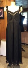 Vintage Luxite by Holeproof Full Length Black Pleated Chiffon Trim Size 40