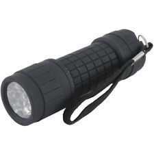 9 LED Bright Black Flashlight Mini Small Torch Travel Camping Hiking Rubber