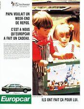 PUBLICITE ADVERTISING 017  1990  Europcar location voiture Renault 25 Disneyland