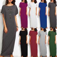 S-5XL Women Short Sleeve Casual Long Maxi Dress Evening Party Sundress Plus Tops