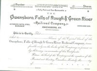 Owensboro, Falls of Rough & Green River Railroad Blank Unused Share Certificate