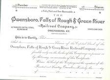 Owensboro, Falls of Rough & Green River Railroad Blank Unused Share Certificate