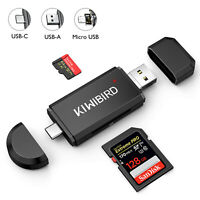 KiWiBiRD USB Type C /Micro USB /USB 2.0 OTG SD/Micro SD/TF Card Reader Adapter